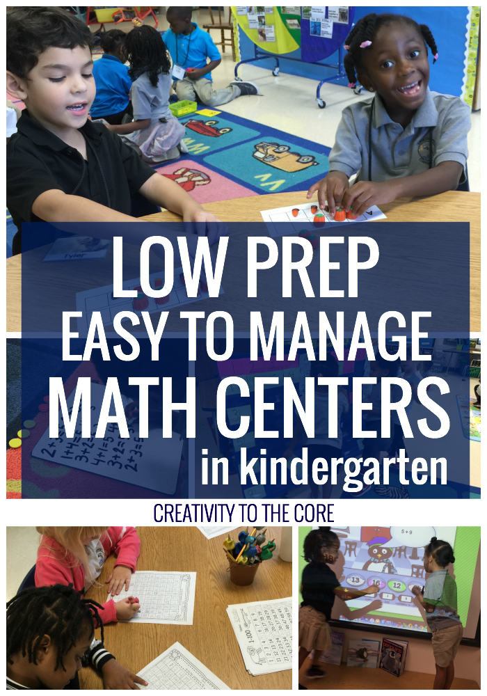 Low prep, easy to manage math centers for kindergarten